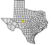 Map showing Tom Green County location within the state of Texas